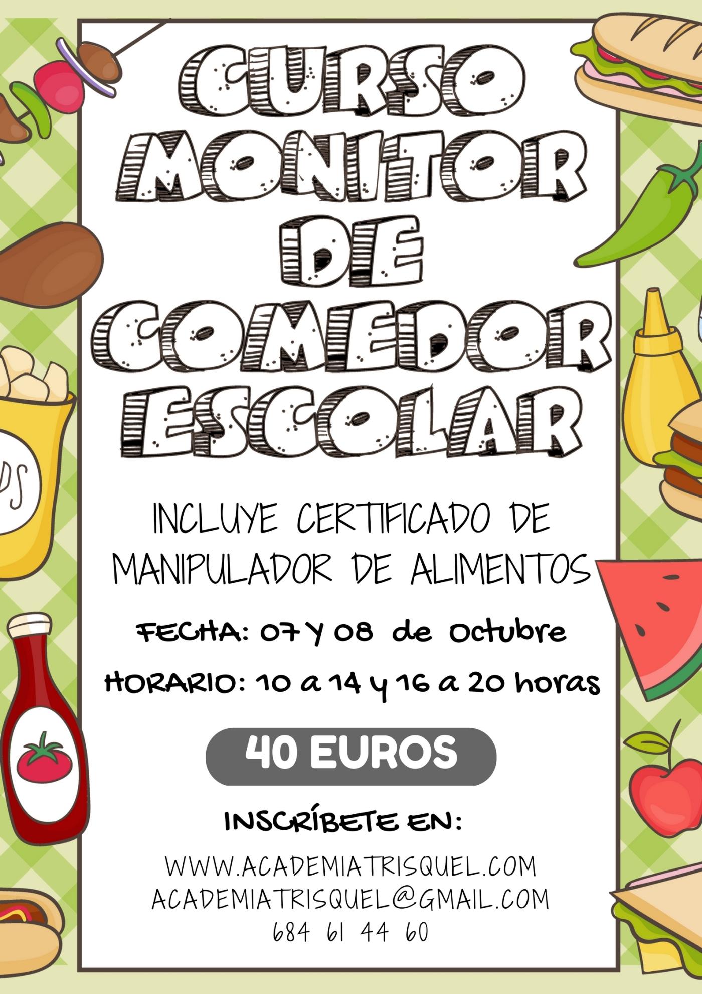 CURSO DE MONITOR DE COMEDOR ESCOLAR – ACADEMIA TRISQUEL